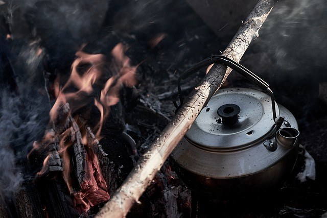 boil camping water on open fire