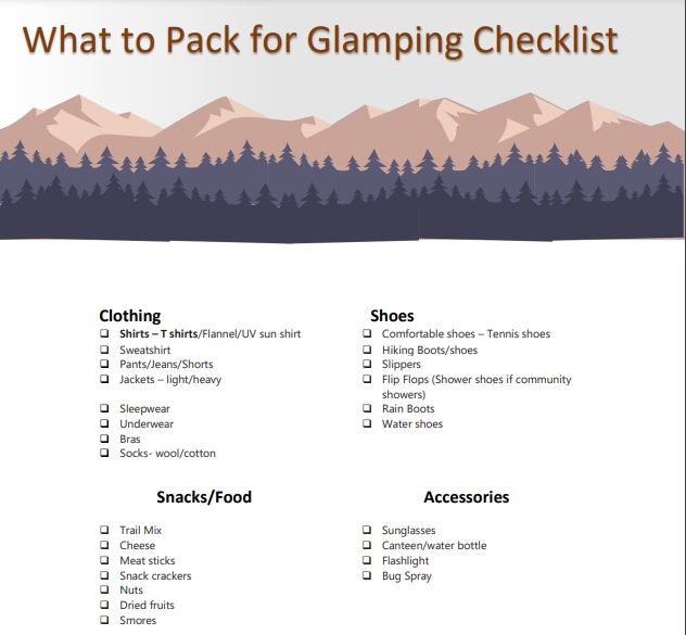 Glamping Packing List Download